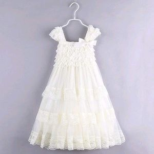 Girls cream and lace dress